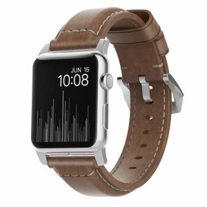 Nomad Strap Leather Traditional 42mm Rustic Brown, Silver