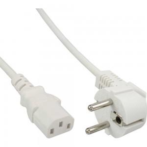 InLine® Netzkabel, Schutzkontakt gewinkelt auf Kaltgerätestecker C13, 1,0m, weiß