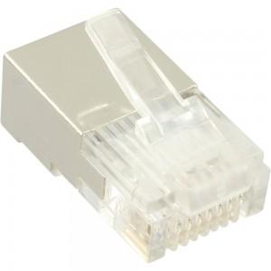 100er Pack, InLine® Modularstecker 8P4C RJ45 zum Crimpen auf Rundkabel, geschirmt