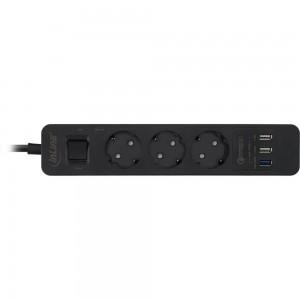InLine® Steckdosenleiste, 3-fach Schutzkontakt, Überspannungsschutz und QuickCharge USB, mit Schalter, 1,5m, schwarz