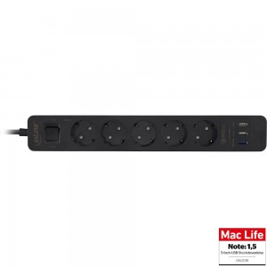 InLine® Steckdosenleiste, 5-fach Schutzkontakt, Überspannungsschutz und QuickCharge USB, mit Schalter, 1,5m, schwarz