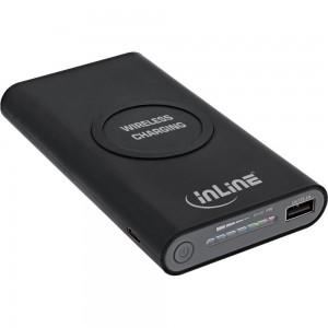 InLine® Qi-Plate Powerbank, 8000mAh, Wireless Charging, induktiv kabellos laden und wiederaufladen, schwarz