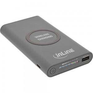 InLine® Qi-Plate Powerbank, 8000mAh, Wireless Charging, induktiv kabellos laden und wiederaufladen, grau