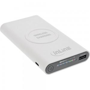 InLine® Qi-Plate Powerbank, 8000mAh, Wireless Charging, induktiv kabellos laden und wiederaufladen, weiß