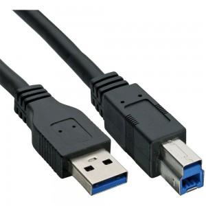 InLine® USB 3.0 Kabel, A an B, schwarz, 0,3m