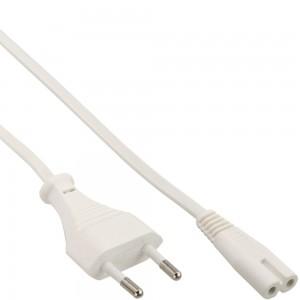 InLine® Netzkabel, Netzstecker auf Euro 8 C7 Stecker, weiß, 0,3m