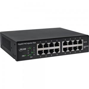 "InLine® PoE+ Gigabit Netzwerk Injektor Hub 8 Port (8x PoE+), 1GBit/s, 19"" (Winkel enthalten), Metall, lüfterlos"
