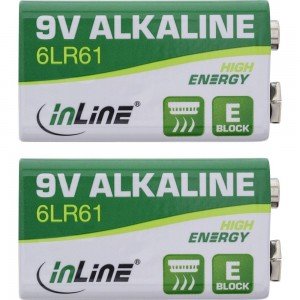 InLine® Alkaline High Energy Batterie, 9V Block 6LR61, 2er Blister