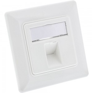 InLine® Rahmenset für 1x RJ45 Bu/LSA Einsatz, Keystone SNAP-In, weiß RAL9010