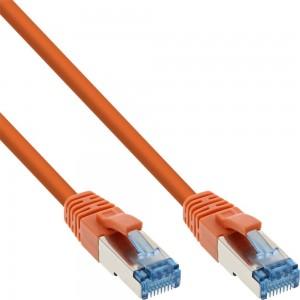 InLine® Patchkabel, S/FTP (PiMf), Cat.6A, 500MHz, halogenfrei, Kupfer, orange, 15m