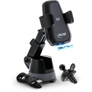 InLine® KFZ Smartphone Halterung elektrisch mit Saugnapf und Befestigung für Lüftungsschlitz, ONE TOUCH QI, universal, ausziehbar, Wireless Charger