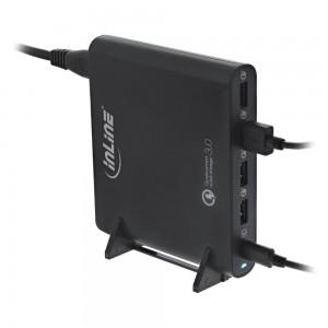 InLine® Quick Charge 3.0 USB Notebook-Netzteil, Ladegerät, 4x USB A + USB Typ-C, 80W, schwarz