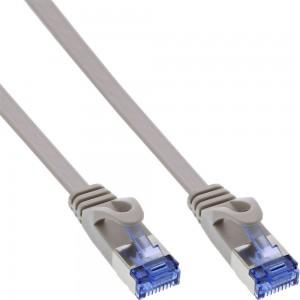 InLine® Patchkabel flach, U/FTP, Cat.6A, grau, 7m Flaches Patchkabel U/FTP Geschirmt: Paarweise in Metallfolie (PiMf) erfüllt die Cat.6A anforderungen bis 500MHz Vier Aderpaare, verdrillt Vollkupferlitzen 1:1 Belegung, farbcodiert nach EIA/TIA-568B 2x RJ4