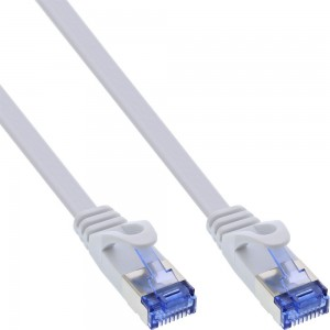 InLine® Patchkabel flach, U/FTP, Cat.6A, weiß, 7m