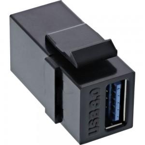 InLine® USB 3.0 Keystone Snap-In Einsatz, USB-A Buchse / Buchse, gewinkelt schwarz