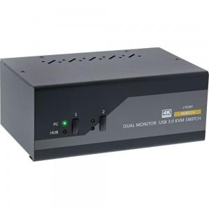 InLine® KVM Desktop Switch, 2-fach, Dual Monitor, HDMI, 4K, USB 3.0, Audio