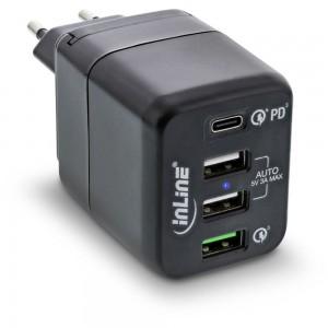 InLine® USB Netzteil, 4-port Ladegerät, USB-C PD+QC4 / QC3, 45W, schwarz