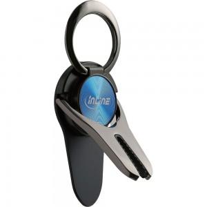 InLine® Smartphone 3in1 Smartclip KFZ-Halter, Ständer, Finger Halterung, selbstklebender Handygriff, Smartphonehalter, Selfie Handyhalter, blau
