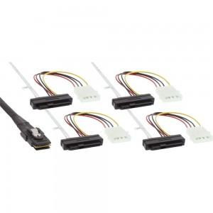 InLine® SAS Anschlusskabel, Mini-SAS SFF-8087 an 4x SAS + Strom, SAS HDD an Controller, 1m