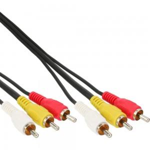 InLine® Cinch Kabel AUDIO/VIDEO, PREMIUM, vergoldete Stecker, 3x Cinch Stecker / Stecker, 2m