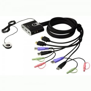 KVM Switch, 2-fach, ATEN CS692, HDMI, USB, Audio, integrierte Kabel
