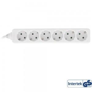 InLine® Steckdosenleiste, weiß, 6-fach, 6x Schutzkontakt, 3m Zuleitung, mit Kindersicherung