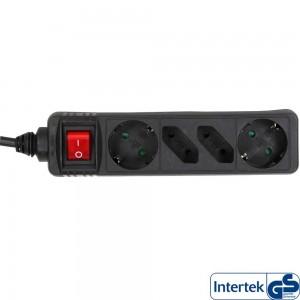 InLine® Steckdosenleiste, schwarz, 4-fach mit Schalter, 2xSchutzkontakt + 2xEuro, 5m Zuleitung, mit Kindersicherung