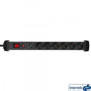 InLine® Steckdosenleiste, Alu, 6-fach Schutzkontakt, mit Überlast- und Überspannungsschutz, mit Schalter, 1,5m