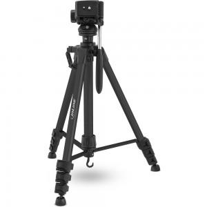 InLine® Stativ für Digitalkameras und Videokameras, Aluminium, schwarz, Höhe max. 1,56m