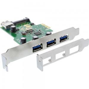 InLine® Schnittstellenkarte, 3x+1x USB 3.0, PCIe, mit SATA Stromanschluss, inkl. LP-Slotblech