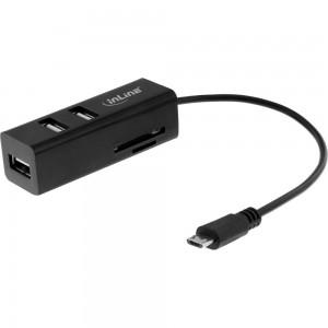 InLine® OTG Card Reader und Hub mit 3 USB 2.0 Ports, für SD und microSD