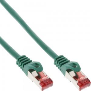 InLine® Patchkabel, S/FTP (PiMf), Cat.6, 250MHz, PVC, Kupfer, grün, 0,3m