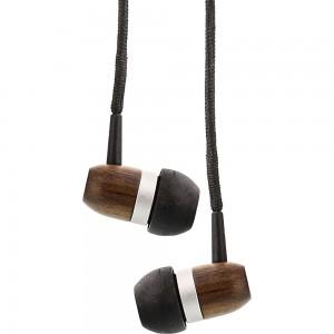 InLine® woodin-ear, In-Ear Headset mit Kabelmikrofon und Funktionstaste, Walnuß