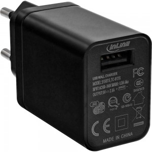 InLine® USB Netzteil, Ladegerät, 100-240V zu 5V/2,5A, schwarz