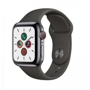 AppleWatch S5 Edelstahl 40mm Cellular Spaceblack (Sportarmband schwarz)