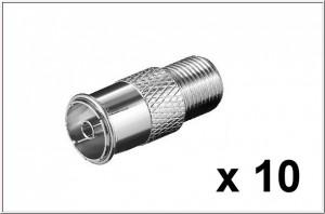 Adapter IEC Stecker auf F-Buchse, 10 StŸck ANT-Stecker auf SAT Buchse, Vollmetall