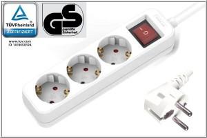 Steckdosenleiste, 3-fach mit Schalter ca. 1,3m Kabel, wei§, GS, CE, Kindersicherung