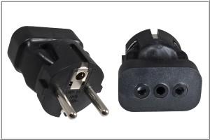 Stromadapter CEE 7/7 Stecker/Italien 3 pin Buchse  YP-2245