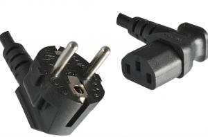 4uConnect Stromkabel Netzkabel CEE 7/7 auf C13 90 Grad abgewinkelt (3,00m, Links gewinkelt, schwarz)