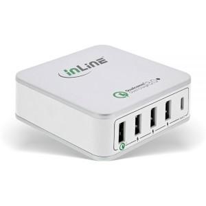 InLine® Quick Charge 3.0 USB Netzteil, Ladegerät, 4x USB A + USB C, 40W, weiß