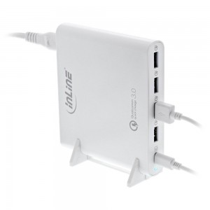 InLine® Quick Charge 3.0 USB Notebook-Netzteil, Ladegerät, 4x USB A + USB Typ-C, 80W, weiß