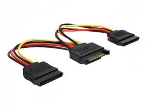 Delock Kabel Power SATA 15 Pin > 2 x SATA HDD