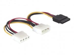 Delock Stromkabel 4 Pin Stecker zu SATA 15 Pin Buchse + 4 Pin Buchse