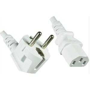 4uConnect Netzkabel weiß Kaltgerätestecker 90 Grad gewinkelt 1,8m (Stromkabel für PC, Monitor, Drucker, PS3, ) Kaltgerätekabel mit 3-poliger Kupplung C13   (17204)