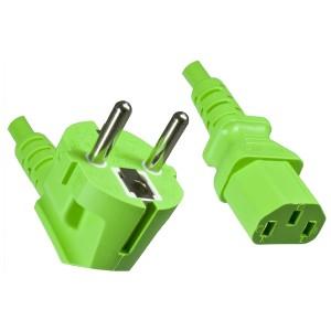 4uConnect Netzkabel Kaltgerätestecker 90 Grad gewinkelt 1,8m (Stromkabel für PC, Monitor, Drucker, PS3, ) Kaltgerätekabel mit 3-poliger Kupplung C13 grün  (18882)