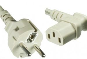 Netzkabel 2m  VDE, YP-23/YC-12L, 0,75 mm_ Schuko/IEC 60320 (C13) 90° grau, CEE 7/7