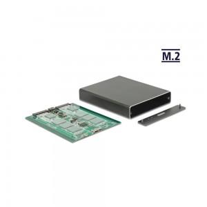 Delock Externes Gehäuse 2 x M.2 Key B > SuperSpeed USB 10 Gbps (USB 3.1 Gen 2) mit RAID