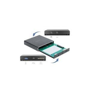 Delock Externes Gehäuse für 2.5″ SATA HDD/SSD mit zusätzlichem USB-C, Typ-A Port und SD Slot