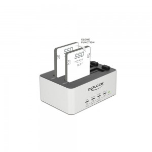 Delock USB3 Dual Dockingstation SATA HDD/SSD mit Klon Funktion im Metallgeh