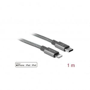 Delock USB-C zu Lightning für iPhone, iPad und iPod, 1 m, Daten- und Ladekabel